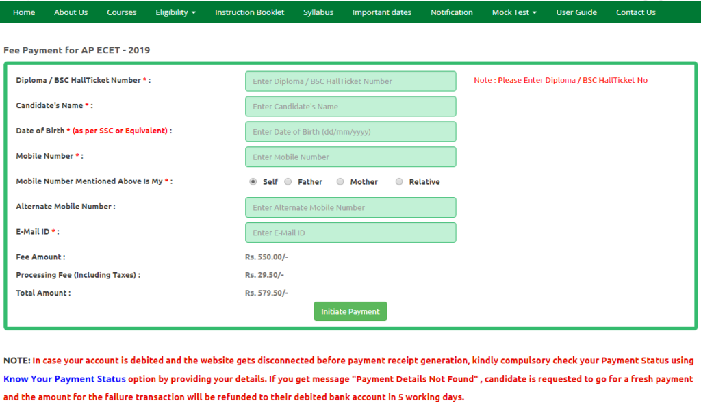 AP ECET Fee Payment