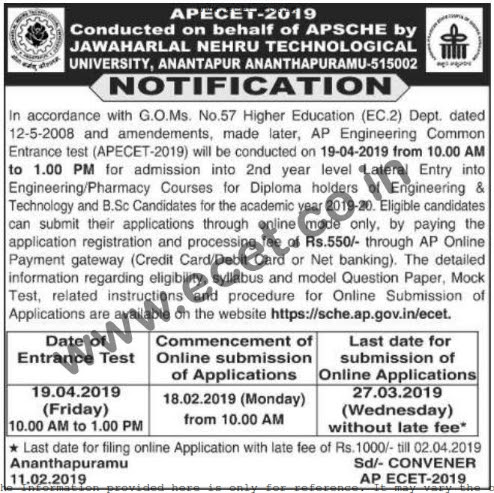 APECET 2019 Notification