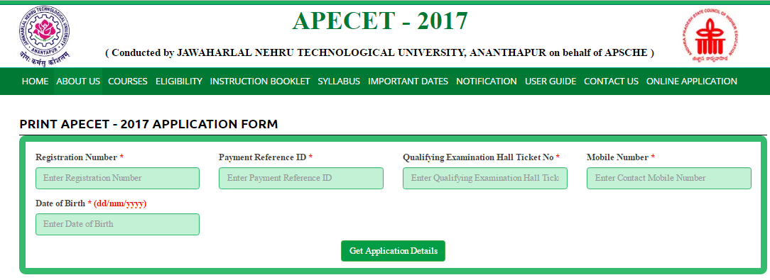 Print APECET 2017 Online Application